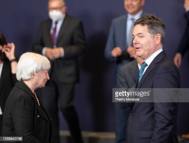 United States Secretary of the Treasury Janet Yellen talks with the Irish Minister for Public Expenditure and Reform Paschal Luke Donohoe after a...