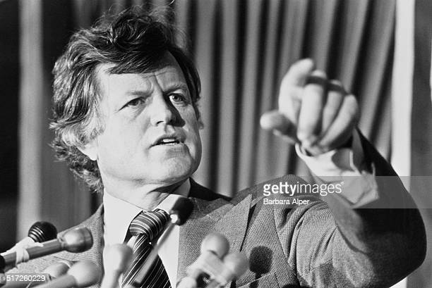 United States Senator and member of the Democratic Party Edward 'Ted' Kennedy speaking at a press conference in Boston Massachusetts 9th January 1979