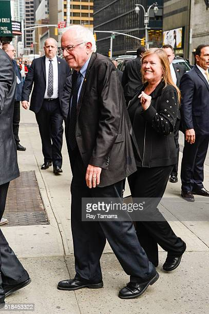 United States Senator Bernie Sanders and Jane O'Meara Sanders enter The Late Show With Stephen Colbert taping at the Ed Sullivan Theater on March 31...