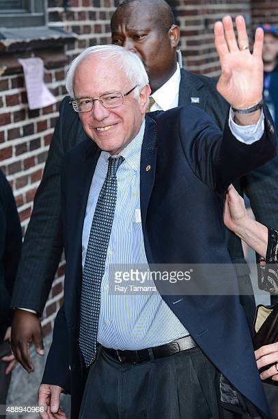 """United States Senator Bernie Sanders enters the """"The Late Show With Stephen Colbert"""" taping at the Ed Sullivan Theater on September 18, 2015 in New..."""