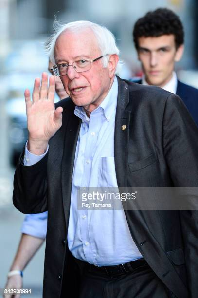 United States Senator Bernie Sanders enters the 'The Late Show With Stephen Colbert' taping at the Ed Sullivan Theater on September 07 2017 in New...