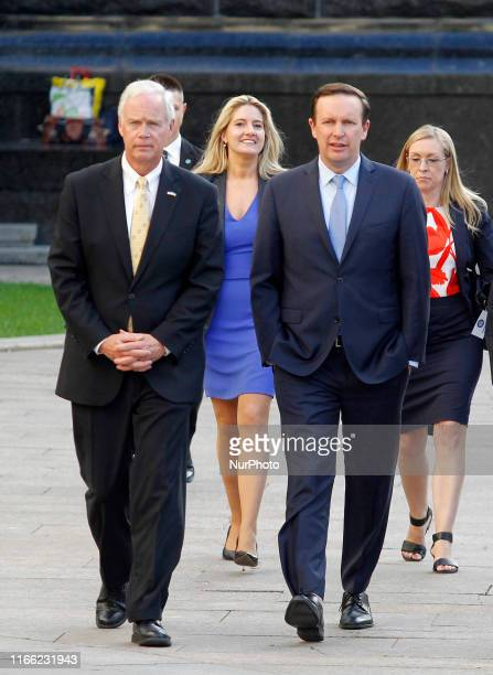 United States Senator Chris Murphy and United States Senator Ron Johnson arrive to a press conference after their meeting with Ukrainian President...