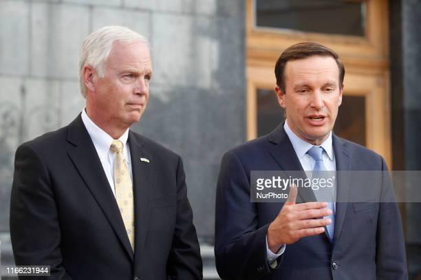 United States Senator Chris Murphy and United States Senator Ron Johnson speak to journalists after their meeting with Ukrainian President Volodymyr...