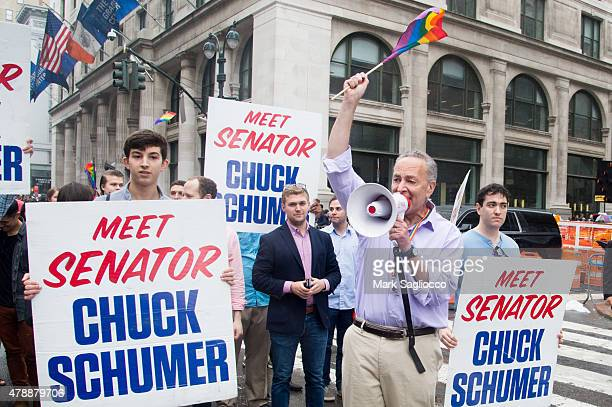 United States Senator Chuck Schumer attends the New York City Pride March on June 28 2015 in New York City