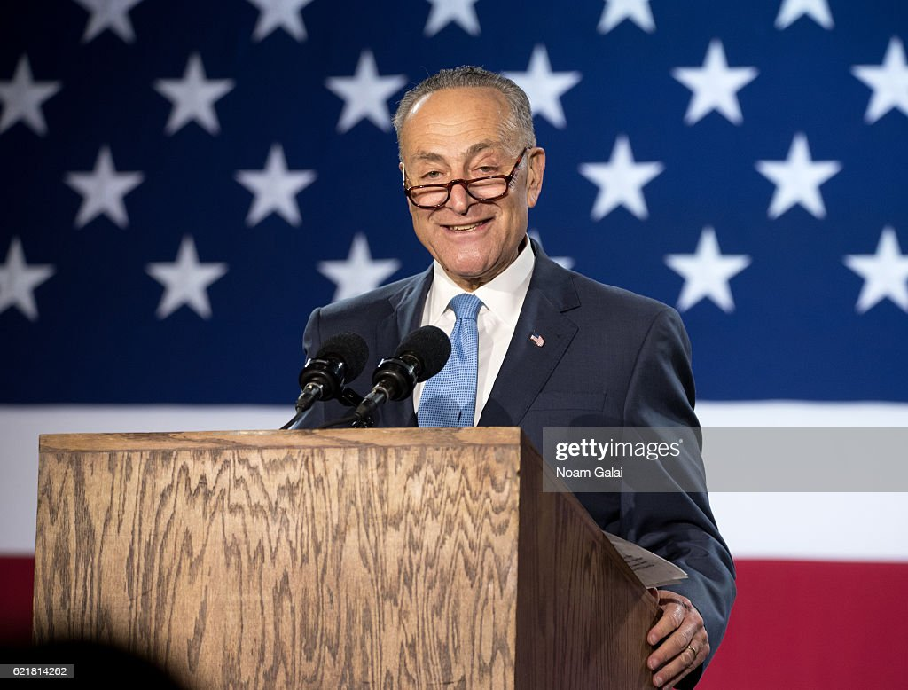 United States Senator Chuck Schumer speaks at Democratic presidential nominee Hillary Clinton's election night event at Javits Center on November 8, 2016 in New York City.
