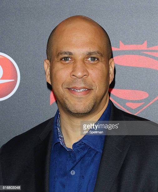 United States Senator Cory Booker attends the 'Batman V Superman Dawn Of Justice' New York premiere at Radio City Music Hall on March 20 2016 in New...
