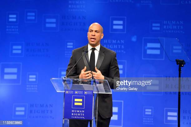 United States Senator Cory Booker speaks onstage at The Human Rights Campaign 2019 Los Angeles Gala Dinner at JW Marriott Los Angeles at L.A. LIVE on...
