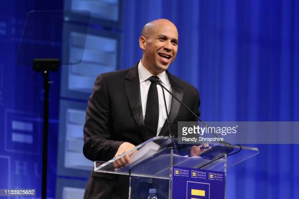 United States Senator Cory Booker speaks onstage during The Human Rights Campaign 2019 Los Angeles Gala Dinner at JW Marriott Los Angeles at LA LIVE...