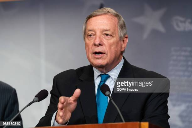 United States Senator Dick Durbin at a press conference about the proposed Central American Reform And Enforcement Act in the US Capitol
