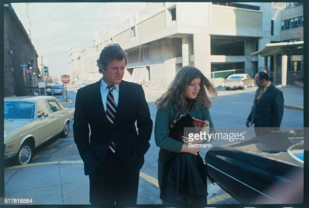 United States Senator Edward Kennedy with niece Caroline leaves the Children's Hospital after visiting his son Edward Jr who had his leg amputated