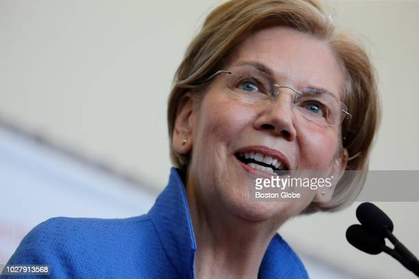 United States Senator Elizabeth Warren speaks during a program announcing the partnership between the US Army Research Laboratory and Northeastern...