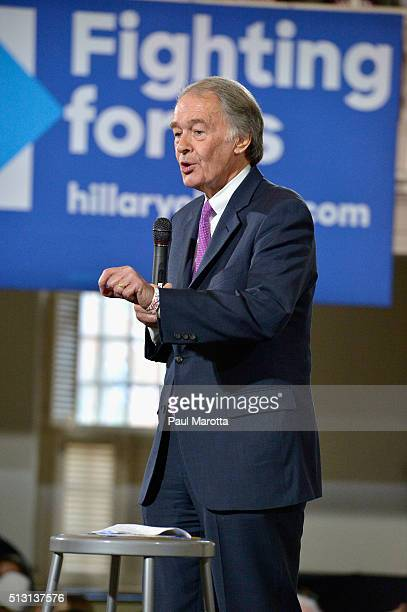 United States Senator for Massachusetts Ed Markey speaks at the 'Get Out The Vote' rally at Old South Meeting House with Democratic Presidential...