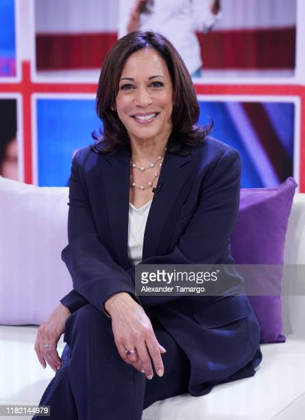 "United States Senator from California and Democratic Presidential Candidate Kamala Harris is seen on the set of ""Un Nuevo Dia"" at Telemundo Center on..."