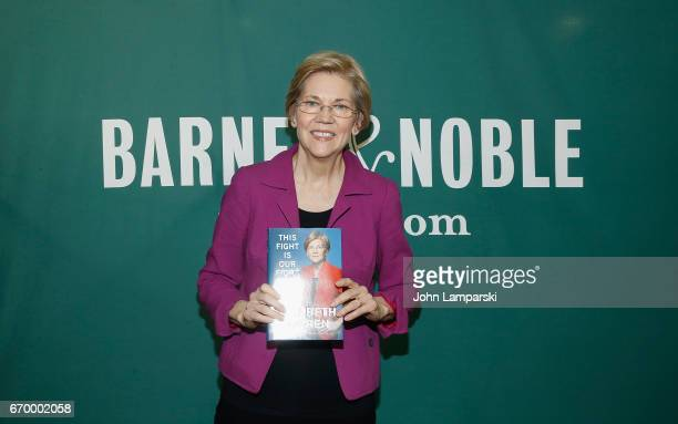 United States Senator from Massachusetts Elizabeth Warren signs copies of her new book This Fight Is Our Fight at Barnes Noble Union Square on April...
