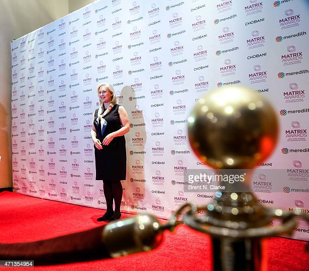 United States Senator from New York and event honoree Kirsten Gillibrand arrives for the 2015 Matrix Awards held at The Waldorf=Astoria on April 27...