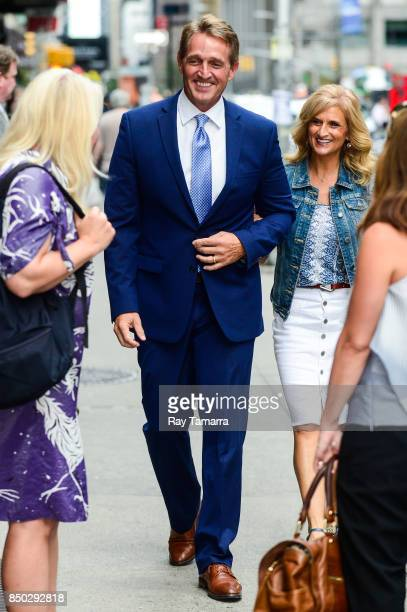 United States Senator Jeff Flake enters the 'The Late Show With Stephen Colbert' taping at the Ed Sullivan Theater on September 20 2017 in New York...
