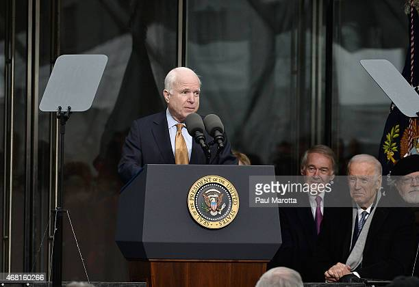 United States Senator John McCain speaks at the Dedication Ceremony at the Edward M Kennedy Institute for the United States Senate on March 30 2015...