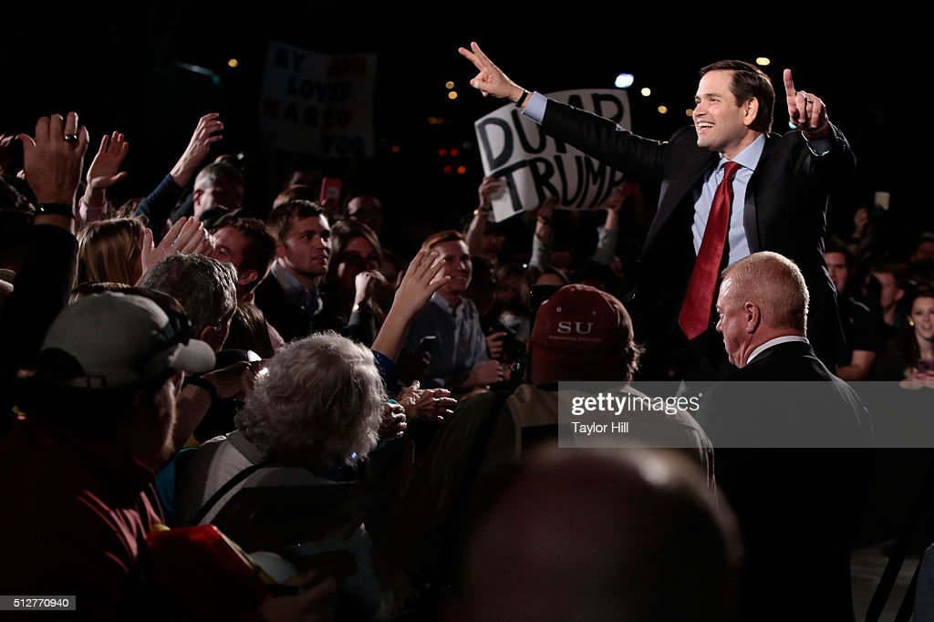 United States Senator Marco Rubio, R-Florida, campaigns for the Republican nomination for President of the United States at Marshall Space Flight Center on February 27, 2016 in Huntsville, Alabama.