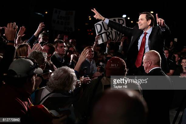 United States Senator Marco Rubio RFlorida campaigns for the Republican nomination for President of the United States at Marshall Space Flight Center...