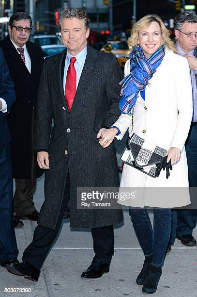 United States Senator Rand Paul and Kelley Paul enter The Late Show With Stephen Colbert taping at the Ed Sullivan Theater on January 6 2016 in New...