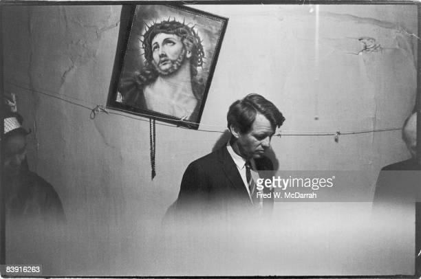 United States Senator Robert F Kennedy during a tour of a tenement house on Manhattan's lower East Side New York New York May 8 1967