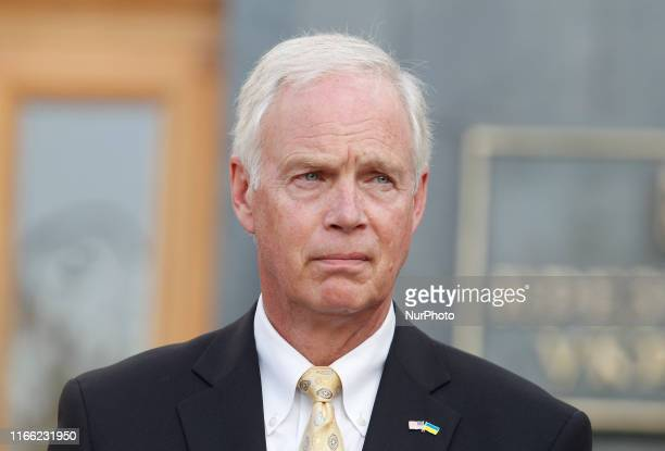 United States Senator Ron Johnson speaks to journalists with joint a press conference with United States Senator Chris Murphy after their meeting...