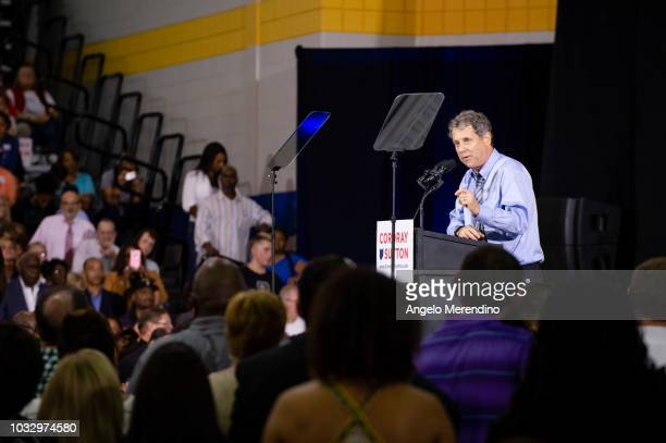 United States Senator Sherrod Brown speaks during a campaign rally for Ohio Gubernatorial candidate Richard Cordray at CMSD East Professional Center...