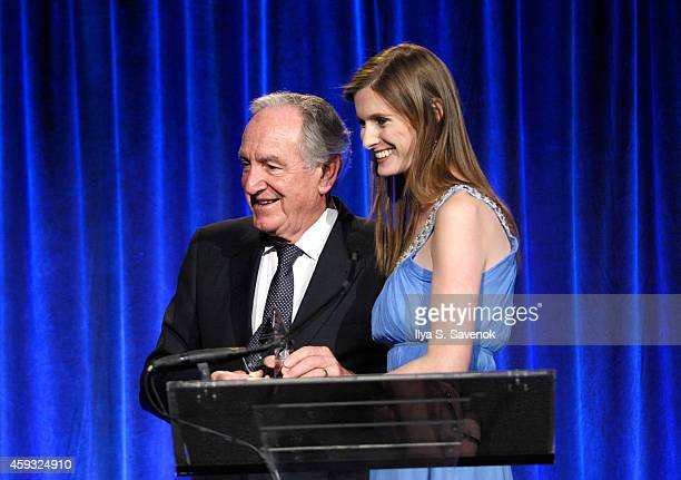 United States Senator Tom Harkin and Alexandra Reeve Givens speak on stage at The Christopher Dana Reeve Foundation 'A Magical Evening' on November...