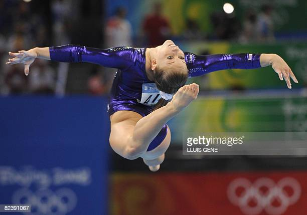 United States' Shawn Johnson competes in the women's floor final of the artistic gymnastics event of the Beijing 2008 Olympic Games in Beijing on...