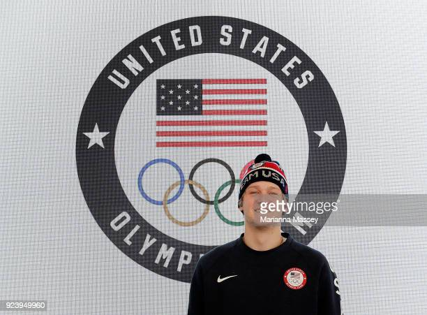 United States silver medalist in Snowboard Big Air Kyle Mack on February 25 2018 in Pyeongchanggun South Korea