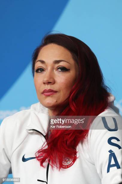 United States skeleton athlete Katie Uhlaender attends a press conference at the Main Press Centre during previews ahead of the PyeongChang 2018...