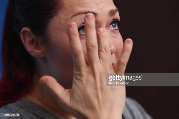 United States skeleton athlete Katie Uhlaender reacts during an interview at a press conference at the Main Press Centre during previews ahead of the...