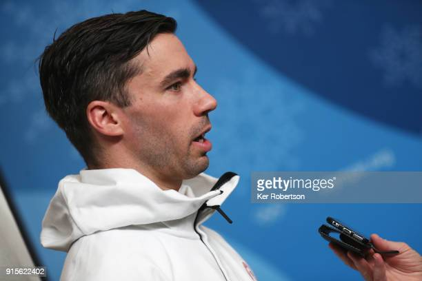 United States skeleton athlete Matt Antoine attends a press conference at the Main Press Centre during previews ahead of the PyeongChang 2018 Winter...