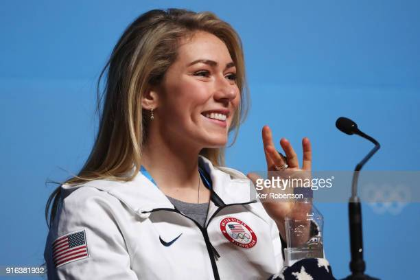 United States skier Mikaela Shiffrin attends her press conference at the Main Press Centre the PyeongChang 2018 Winter Olympic Games on February 10...