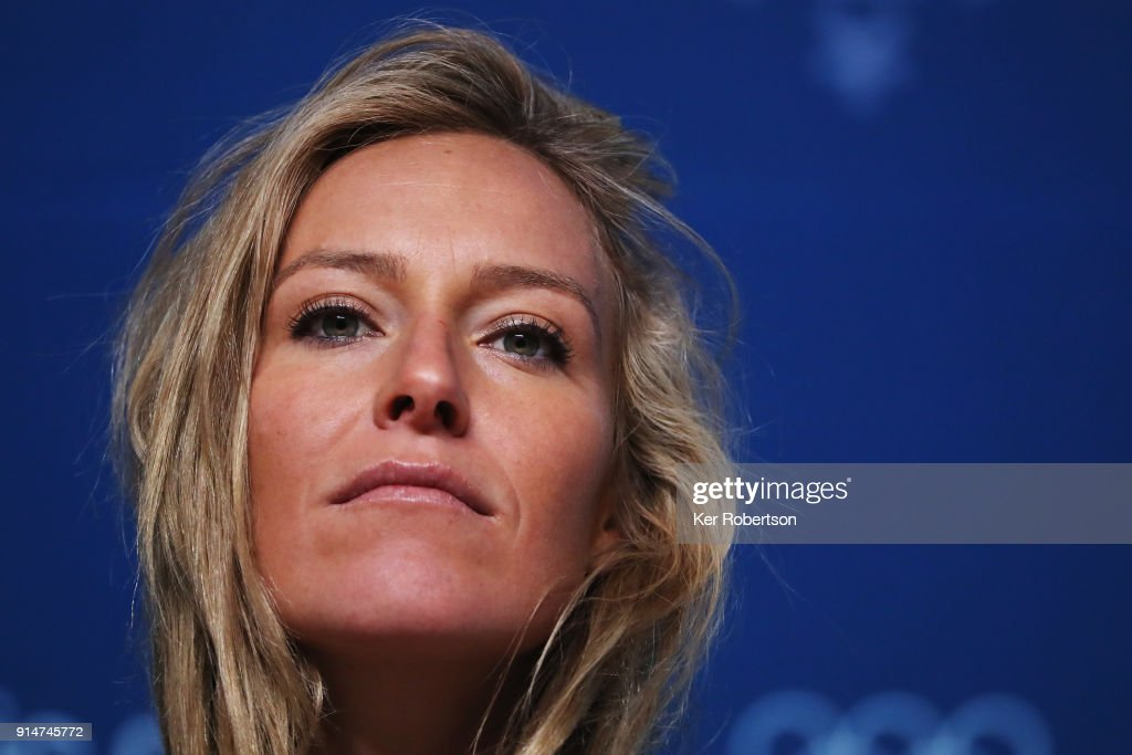 United States snowboarder Jamie Anderson attends a press ...