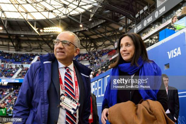 United States Soccer Federation president Carlos Cordeiro and USWNT GM Kate Markgraf talk before the match during a game between Spain and USWNT at...