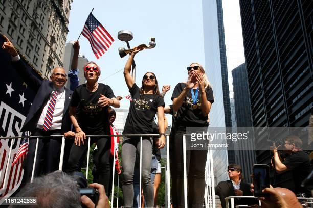 United States Soccer Federation president Carlos Cordeiro Megan Rapinoe Alex Morgan and Allie Long celebrate US Women's National Soccer Team Victory...