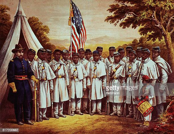 """United States Soldiers at Camp William Penn, Philadelphia, Pennsylvania. Black Regiment. """"Rally Round The Flag, Boys! Rally Once Again, shouting the..."""