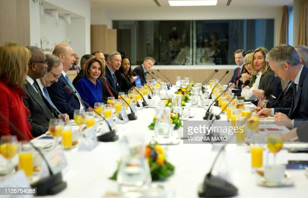 United States Speaker of the House Nancy Pelosi and European Union Foreign Policy chief Federica Mogherini and their delegations pose prior to their...