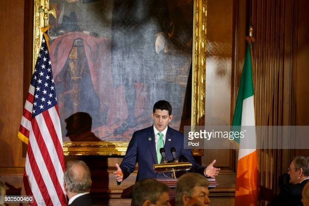 United States Speaker of the House of Representatives Paul Ryan Republican of Wisconsin speaks during the Friends of Ireland luncheon at the United...