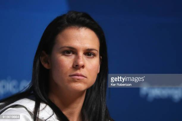 United States speed skater Brittany Bowe attends a press conference at the Main Press Centre during previews ahead of the PyeongChang 2018 Winter...