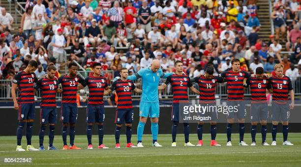 United States stands during a moment of silence before an international friendly between USA and Ghana at Pratt Whitney Stadium on July 1 2017 in...