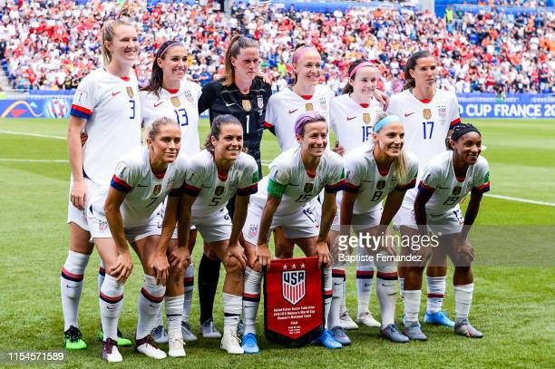 United States starting lines up before the 2019 FIFA Women's World Cup France Final match between United States and Netherlands at Groupama Stadium...