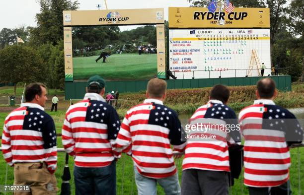 United States supporters enjoy the action on a big screen during the afternoon foursomes on the second day of the 2006 Ryder Cup at The K Club on...