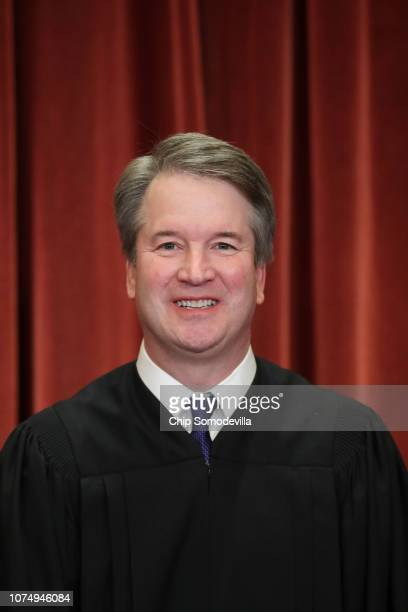 United States Supreme Court Associate Justice Brett Kavanaugh poses for the court's official portrait in the East Conference Room at the Supreme...