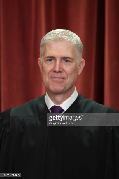 United States Supreme Court Associate Justice Neil Gorsuch poses for the court's official portrait in the East Conference Room at the Supreme Court...