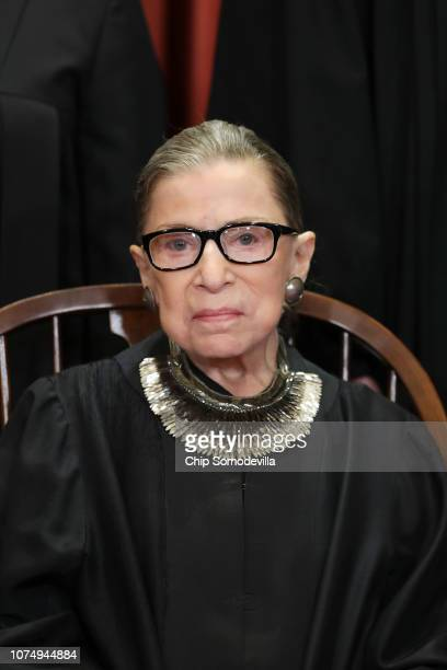 United States Supreme Court Associate Justice Ruth Bader Ginsburg poses for the court's official portrait in the East Conference Room at the Supreme...