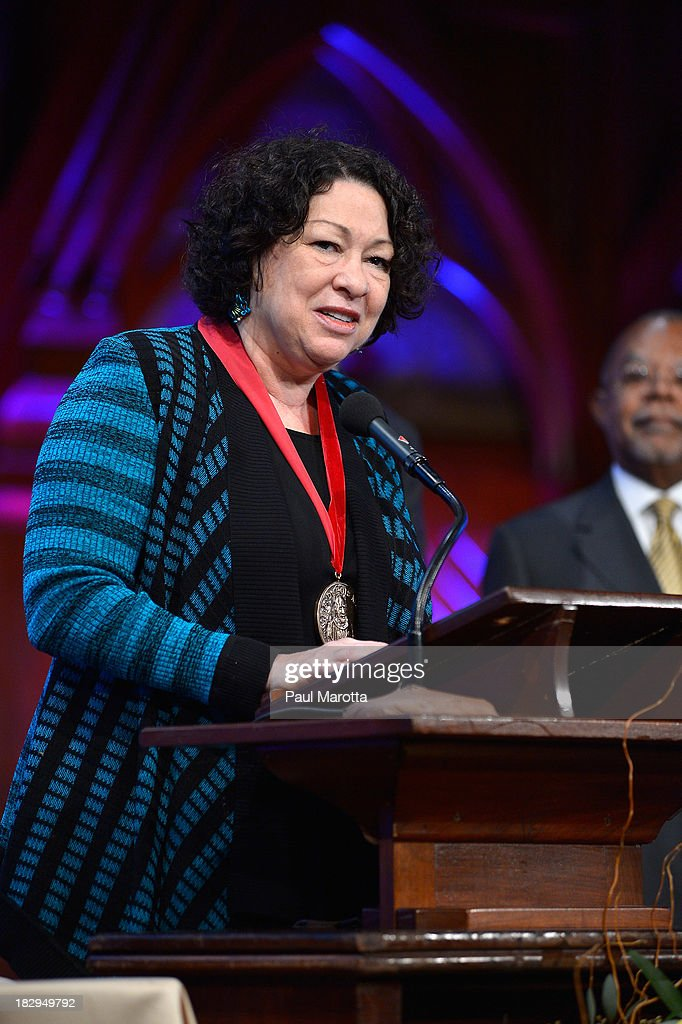 United States Supreme Court Associate Justice Sonia Sotomayor receives the 2013 W.E.B. Du Bois Medal at a ceremony at Harvard University's Sanders Theatre on October 2, 2013 in Cambridge, Massachusetts.
