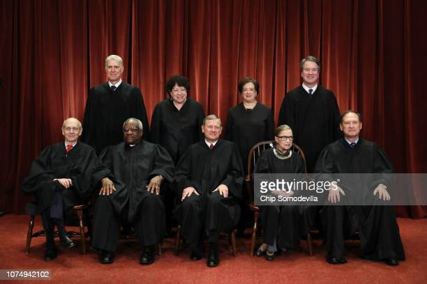 United States Supreme Court Associate Justice Stephen Breyer, Associate Justice Clarence Thomas, Chief Justice John Roberts, Associate Justice Ruth...