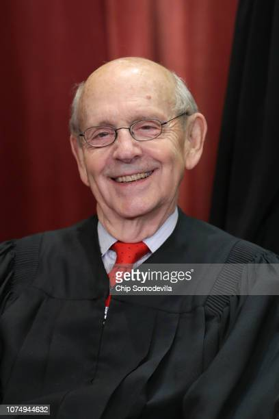 United States Supreme Court Associate Justice Stephen Breyer poses for the court's official portrait in the East Conference Room at the Supreme Court...